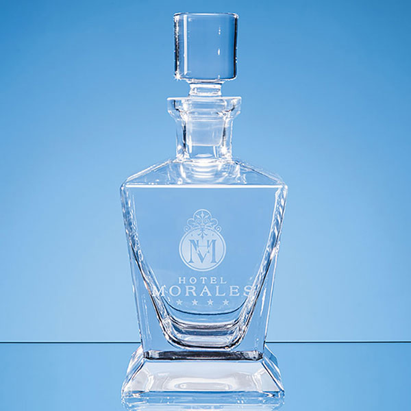 Engraved Handmade Tapered Square Spirit Decanter