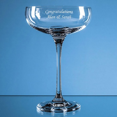 Engraved Glass 'Infinity' Champagne Saucer