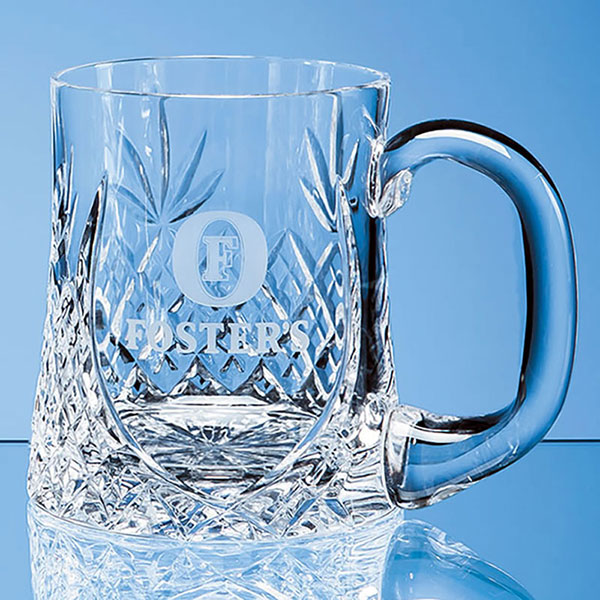 0.425ltr Lead Crystal Sloping Panel Tankard LOS3