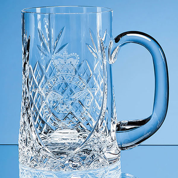 0.595ltr Lead Crystal Sloping Panel Tankard LOS4