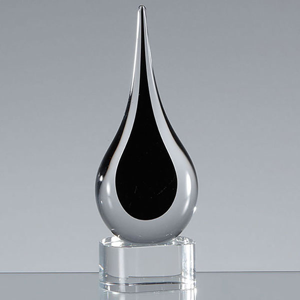 18cm Handmade Crystal Onyx Black Teardrop Award