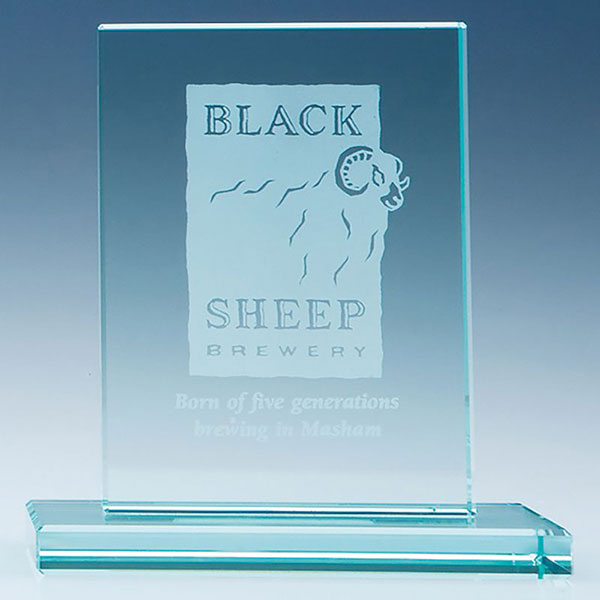 12.5x14.5cm Jade Glass Rectangle Plaque