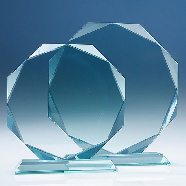 8in Jade Glass Facet Octagon Award
