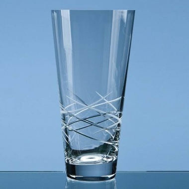 25cm Tiesto Conical Glass Vase with Modern Cut Pattern