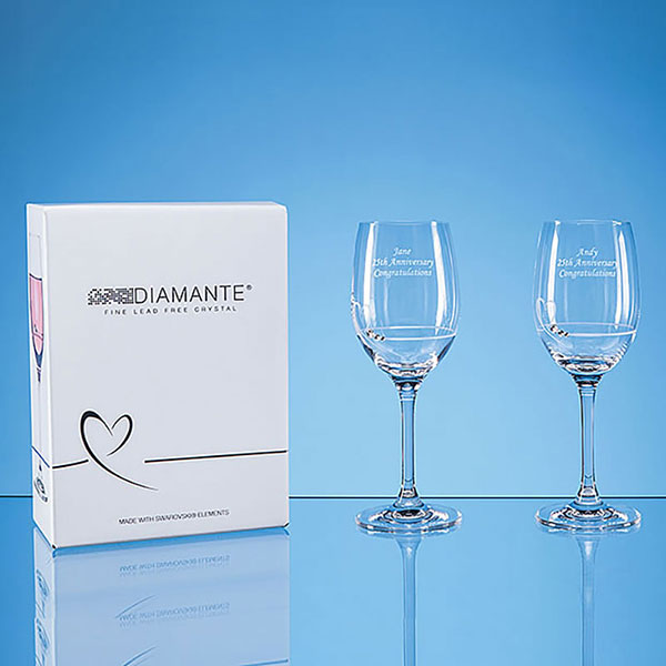 Engraved Pair Diamante Wine Glasses with Heart Motif