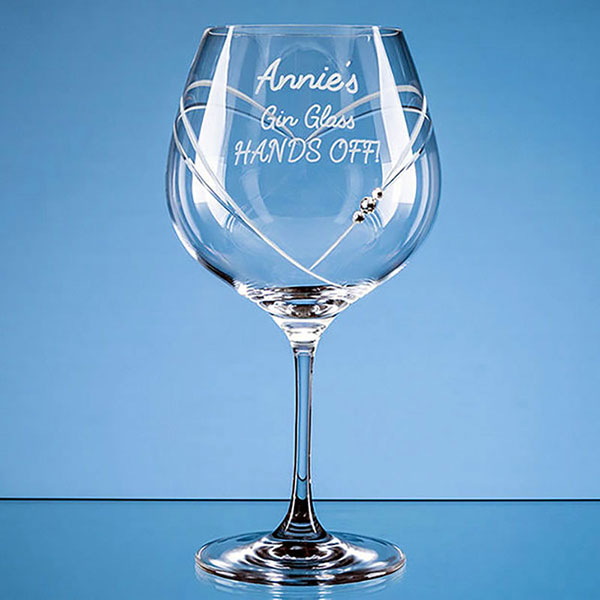 610ml Just For You Diamante Gin Glass with Heart Shaped Cutting