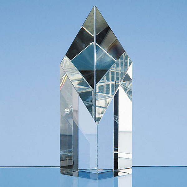 5in Optic Crystal Sloping Diamond Award
