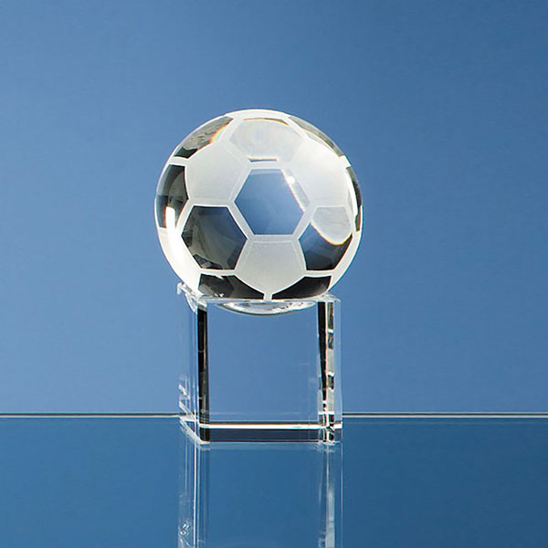 50mm Glass Football on Clear Base