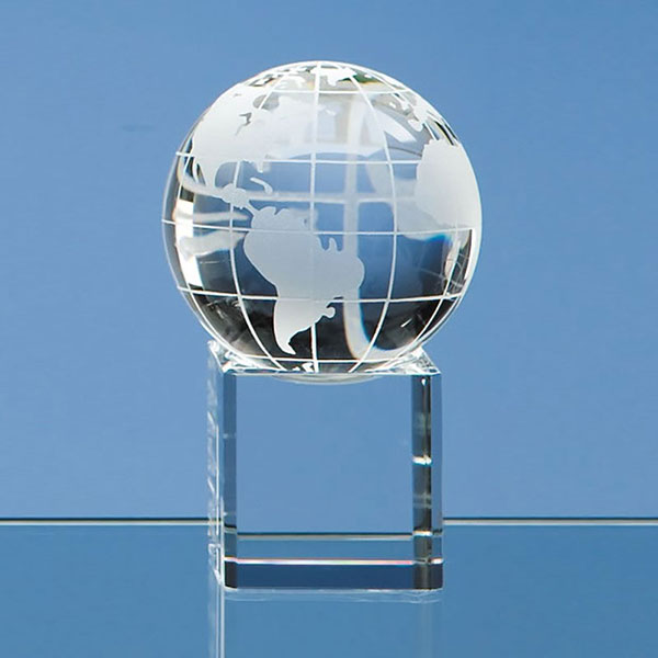 60mm Optic Crystal Globe on Clear Base
