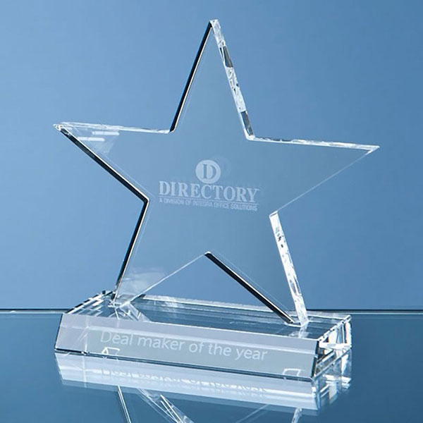 4in Optic Crystal Five Pointed Star on Base Award