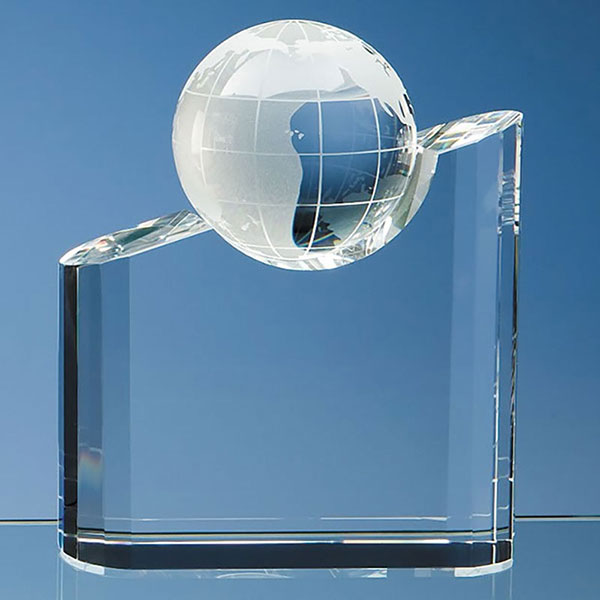 7in Tall Optic Crystal Globe Award