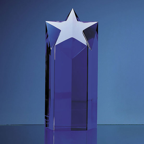 Engraved Blue Optical Crystal Star Column Award 8in