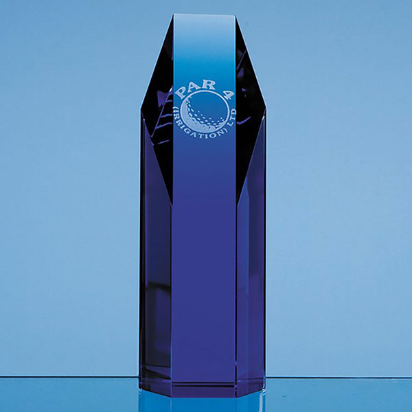 7.5in Blue Optic Crystal Hexagon Award