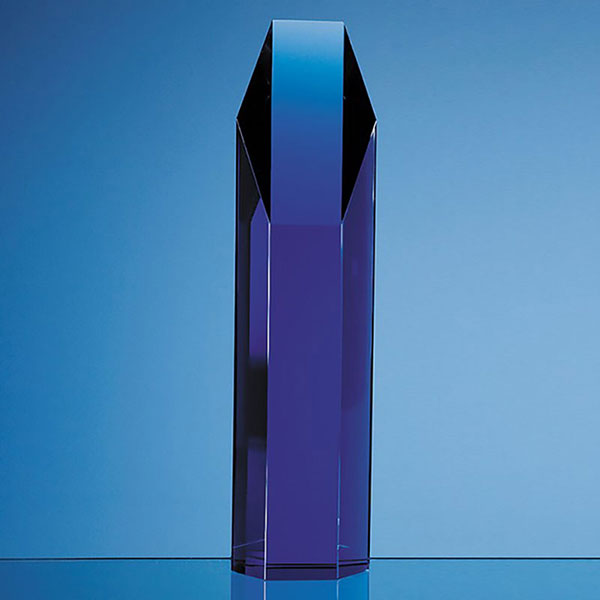 10in Blue Optic Crystal Hexagon Award