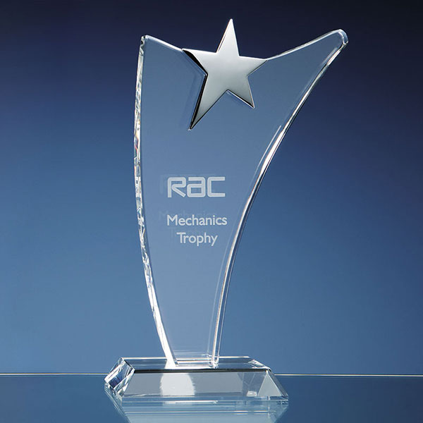 Engraved Optic Swoop Award with Silver Star 30cm