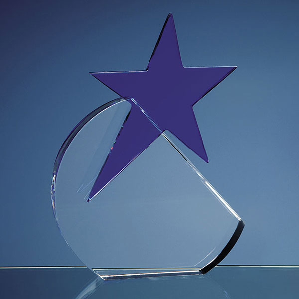Optical Crystal Circle with Blue Star Award 15cm