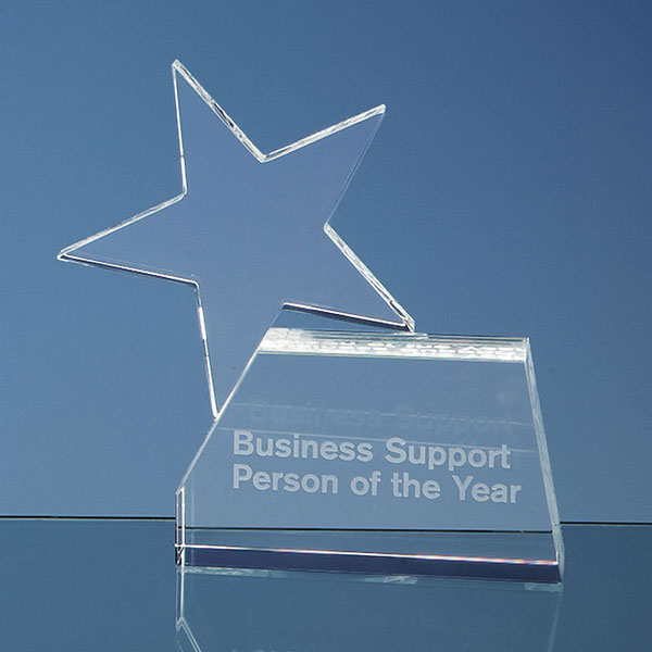 Engraved Optic Crystal Single Rising Star Award