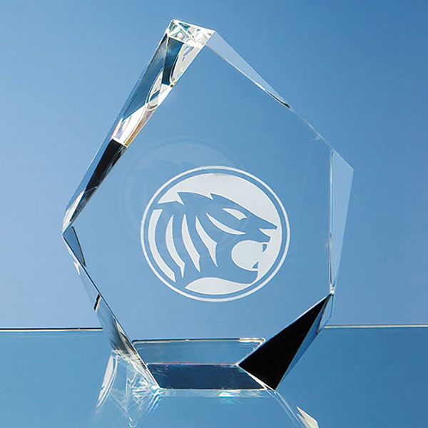 13cm Optic Crystal Facet Iceberg Award