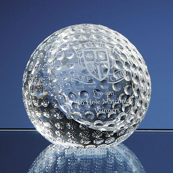 80mm Optic Crystal Golf Ball Paperweight SY2084