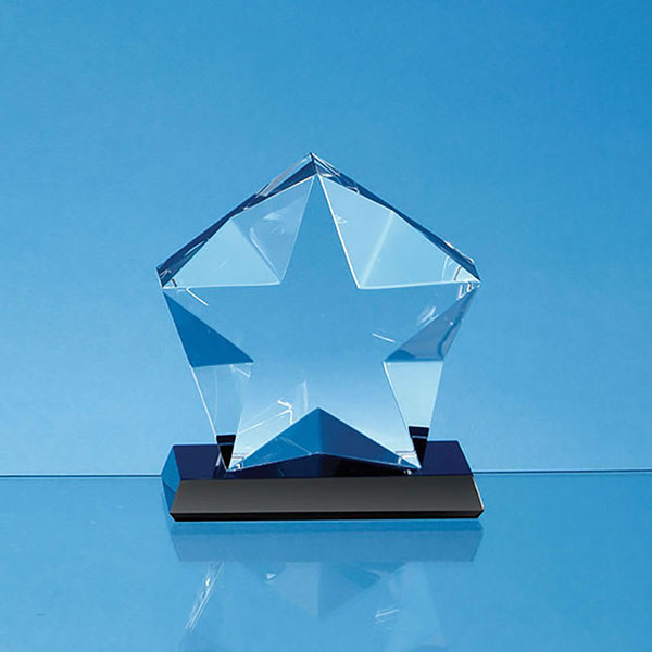 Optical Crystal Facetted Star on Onyx Base 15x5cm