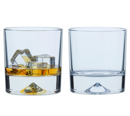 Pair Single Dimple Double Old Fashioned Whisky Glasses