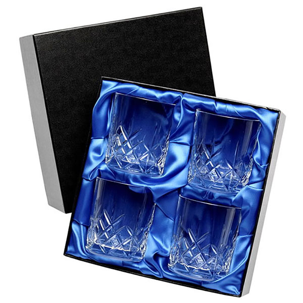 Boxed Set of Four Cut Glass Whisky Tumblers UPP363