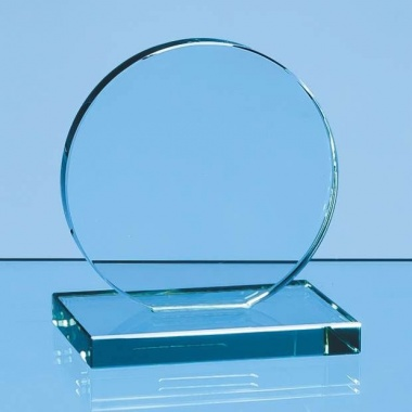 4in dia Jade Circle Flat Glass Award