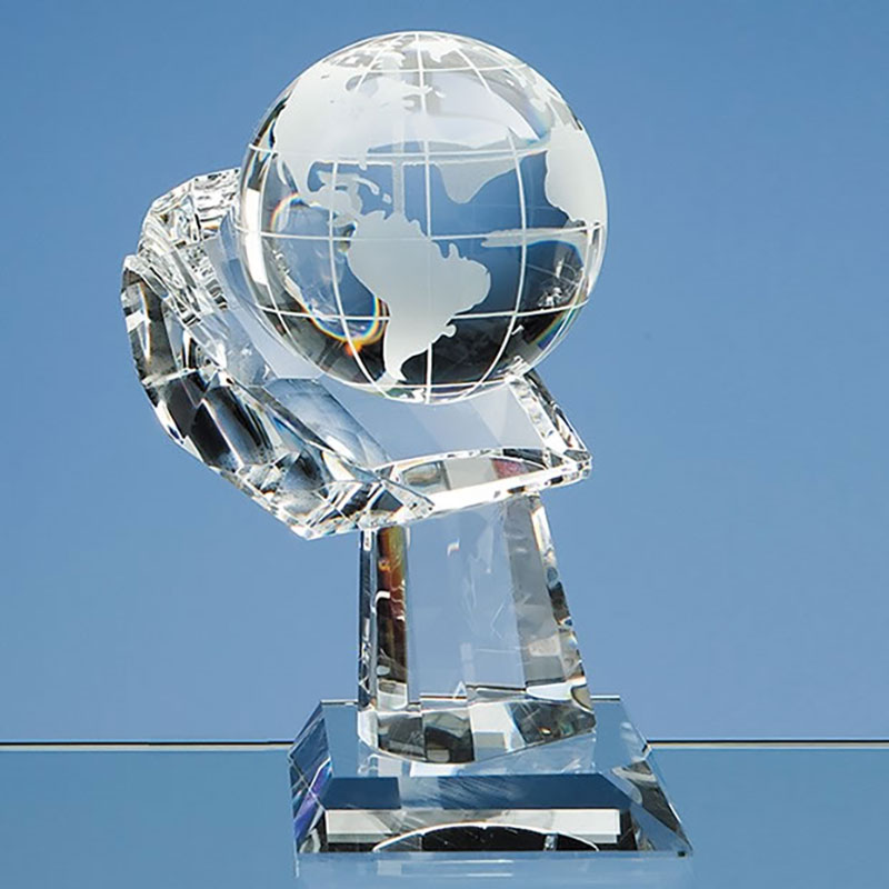 80mm Optic Crystal Globe on Hand