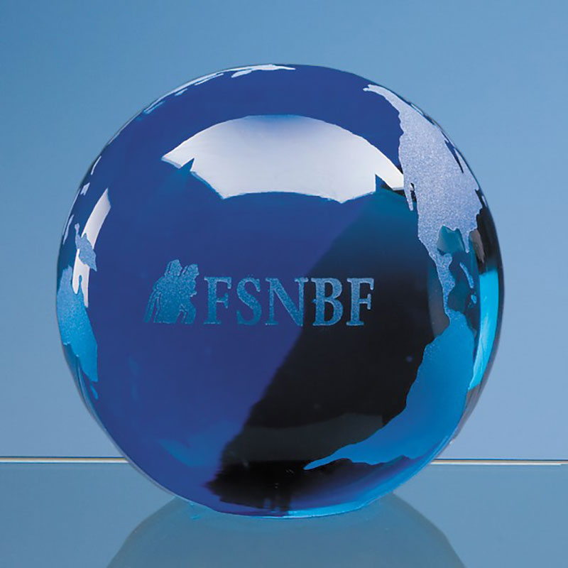 70mm Blue Glass Ocean Globe