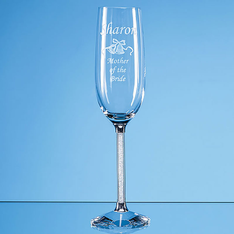 Pair Crystal Flutes with Diamante Filled Stems in Gift Box