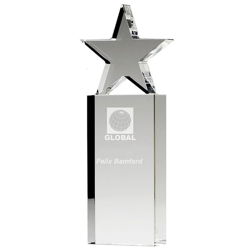 Engraved Optical Crystal Tower Star Award
