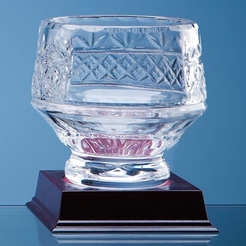 12cm Lead Crystal Panelled Heeled Bowl L337