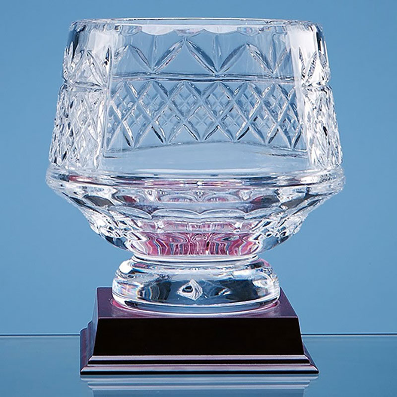 15cm Lead Crystal Panelled Heeled Bowl L338