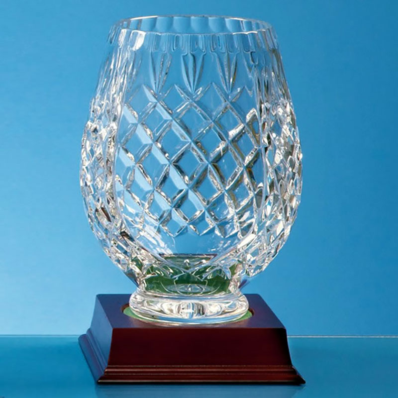 15cm Lead Crystal Panel Tulip Vase
