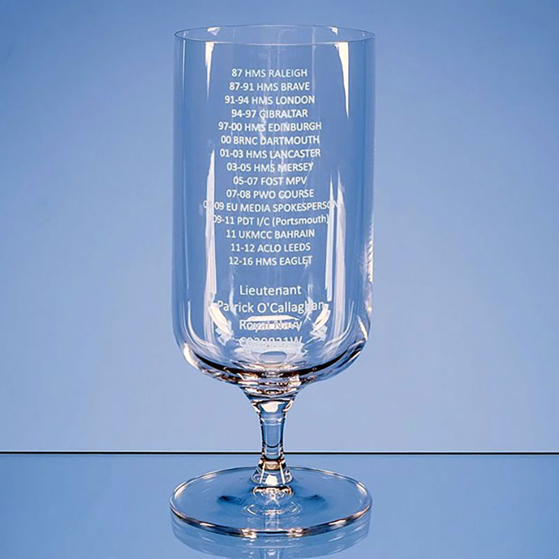 Engraved Footed Beer Glass