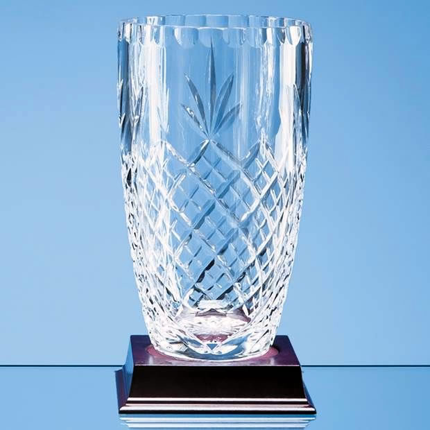 19cm Lead Crystal Panelled Barrel Vase