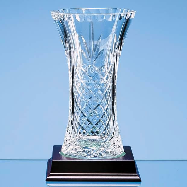 19cm Lead Crystal Panelled Flared Vase