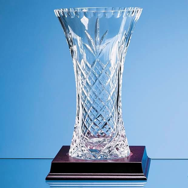 23cm Lead Crystal Panelled Flared Vase