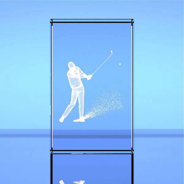3D Optical Crystal Block - Golf Bunker Shot