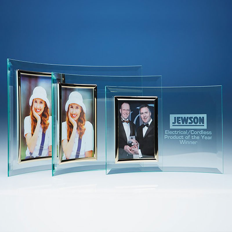 Jade Glass Crescent with 6x4in Portrait Photo Frame