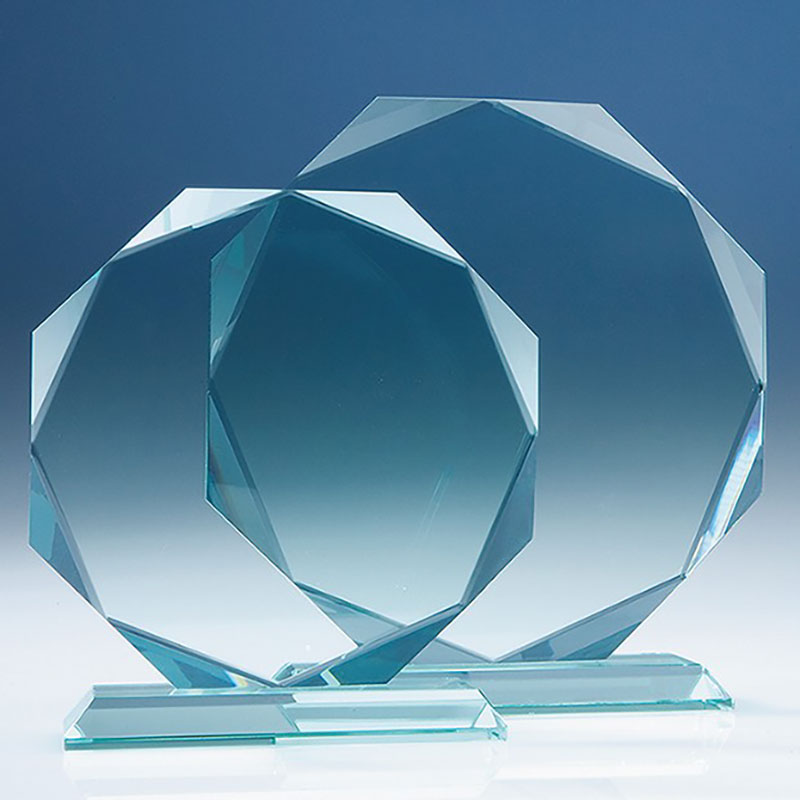 6in Jade Glass Facet Octagon Award