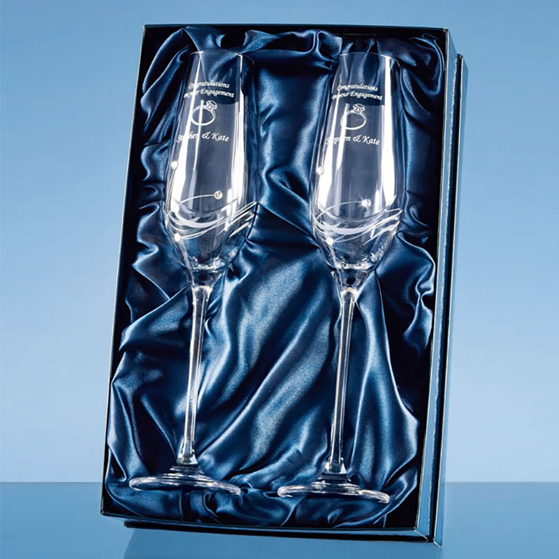 Twin Diamante Champagne Flutes Gift Set