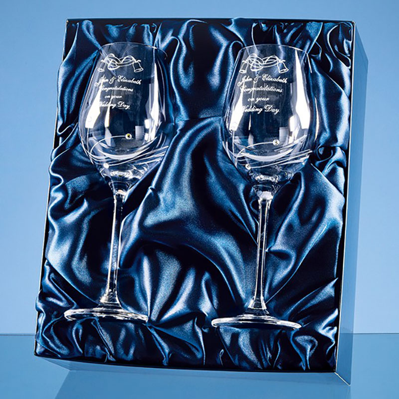 Engraved Pair Diamante Wine Glasses Gift Set
