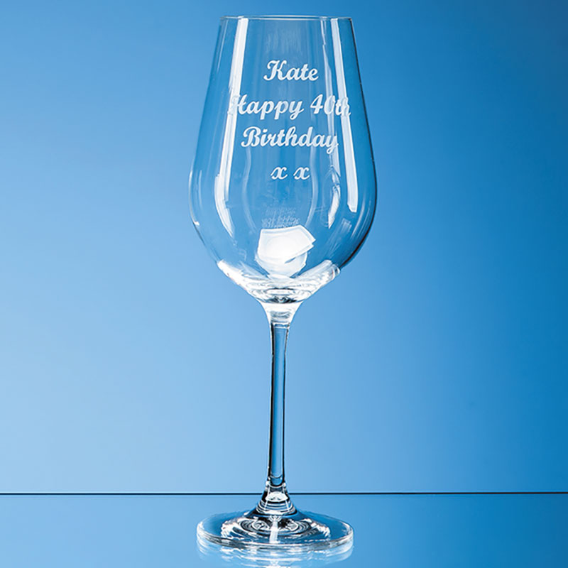 Engraved Aura Crystalite Large Wine Glass