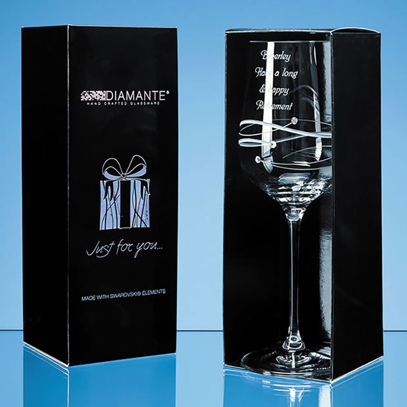 Engraved Diamante Wine Glass with Spiral