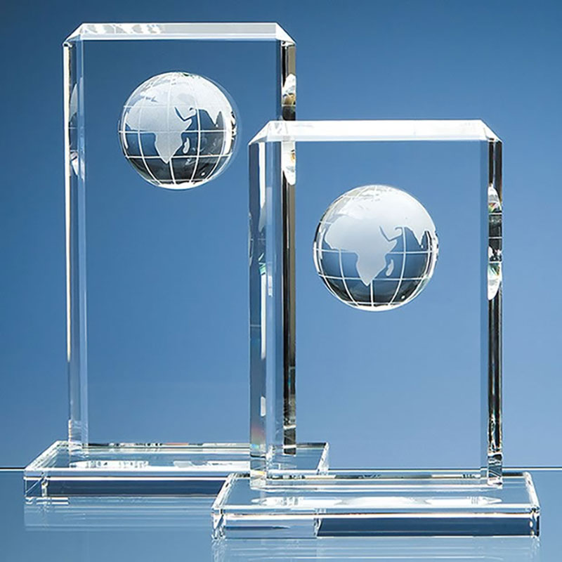 240mm Optic Crystal Rectangle Plaque with Globe