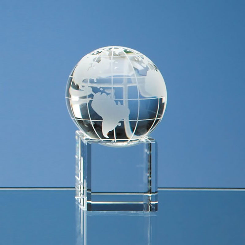 50mm Optic Crystal Globe on Clear Base