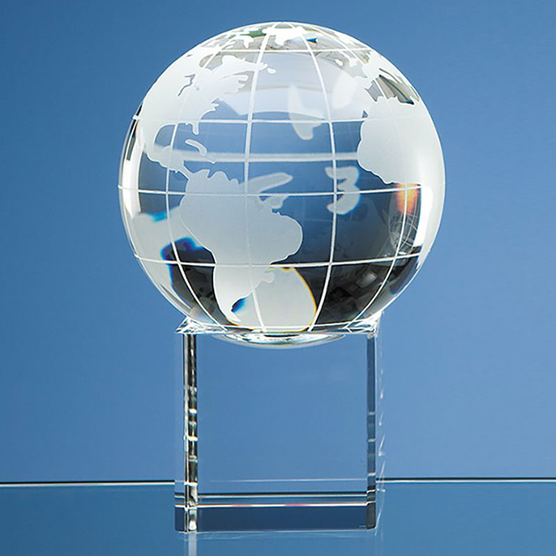 100mm Optic Crystal Globe on Clear Base