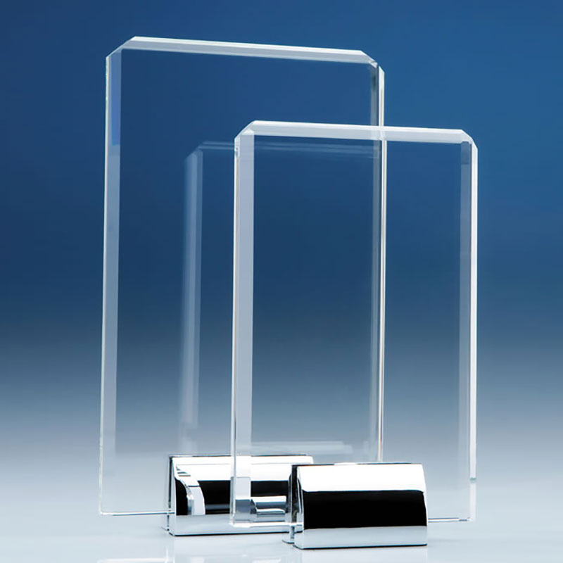 25cm Optical Crystal Rectangular Plaque on Chrome Stand