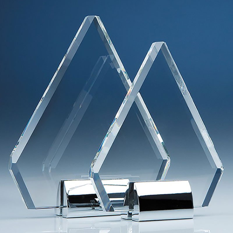 21.5cm Optic Diamond Plaque on Chrome Stand